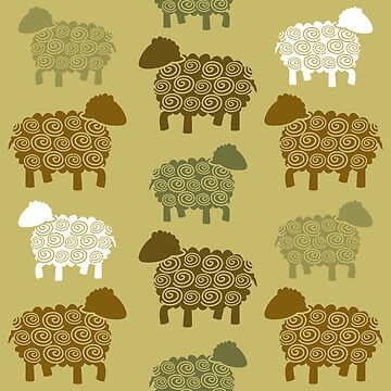 Seamless pattern with sheep in earth tone color by yolan