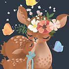 Cute mama deer with a little baby deer by Anna Babich
