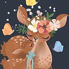 Nette Mutterhirsche mit einem kleinen Babyrotwild von Anna Babich