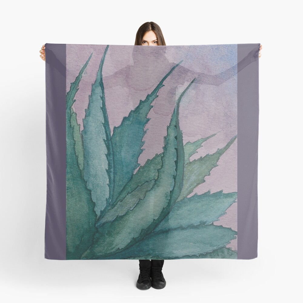 Agave plant watercolor painting Scarf