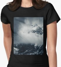 Darkness and mysterious clouds over the mountain Women's Fitted T-Shirt