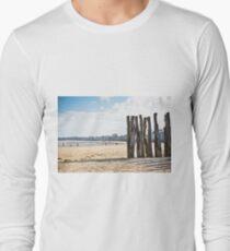 Breakwaters on seashore Saint malo, France Long Sleeve T-Shirt