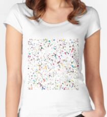 80s RAINBOW SPLATTER PAINT PATTERN Women's Fitted Scoop T-Shirt