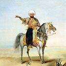 Desert Warrior on Grey Arabian Stallion by Janice O'Connor