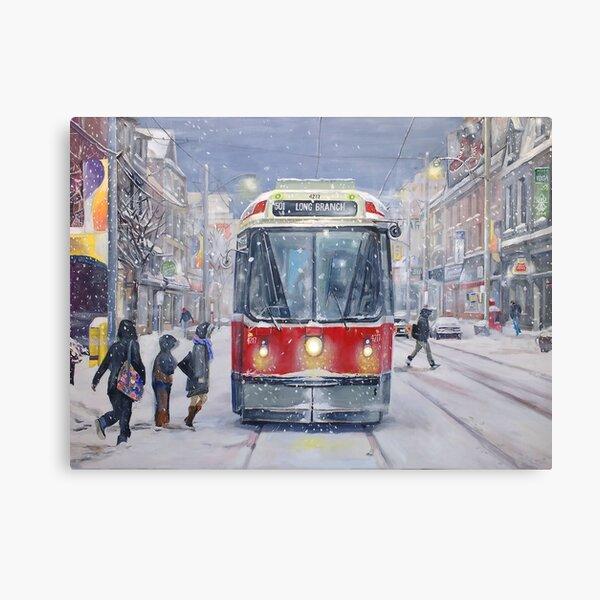 Queen West bound Streetcar, first snowfall Canvas Print