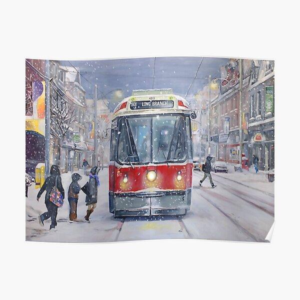 Queen West bound Streetcar, first snowfall Poster