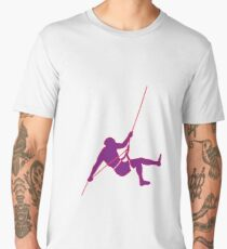 Climber climbing on the wall hill in purple Men's Premium T-Shirt