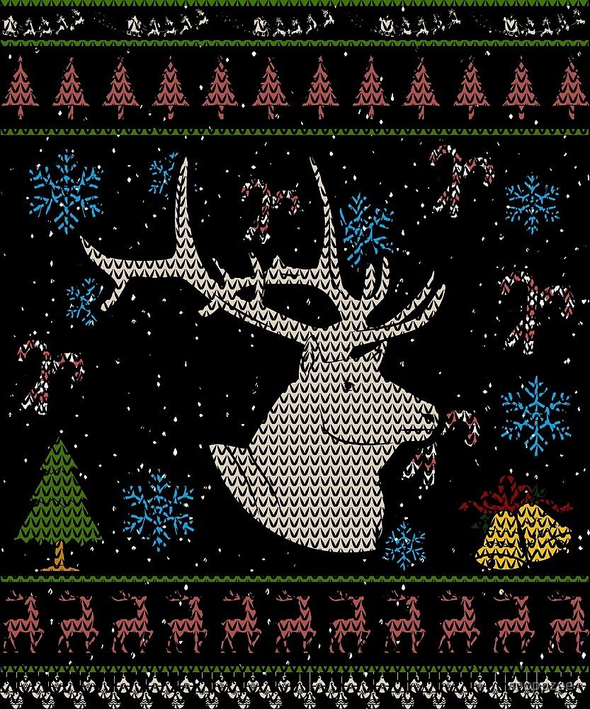 Big Game Elk Hunting Christmas Ugly Holiday Shirt by shoppzee