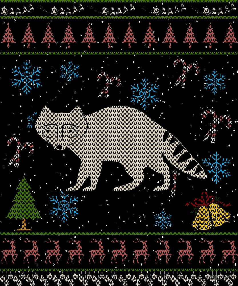 Raccoon Hunting Christmas Ugly Holiday Shirt by shoppzee