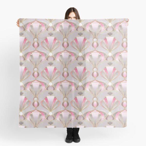Rose Pink, Grey & Gold Art Deco Pattern Scarf