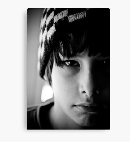 black and white hat Canvas Print