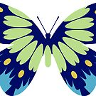 Blue and Green Butterfly with Floral Wings by witandwhimsey