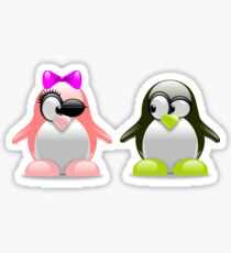 Amorous penguin couple Sticker