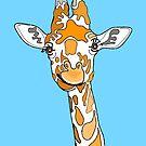 Giraffe Portrait On Blue by Adam Regester