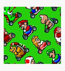 Super Mario Kart / 8 characters pattern / green grass Photographic Print