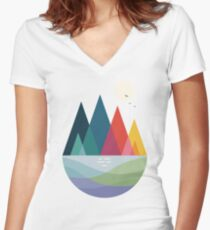 Somewhere Women's Fitted V-Neck T-Shirt