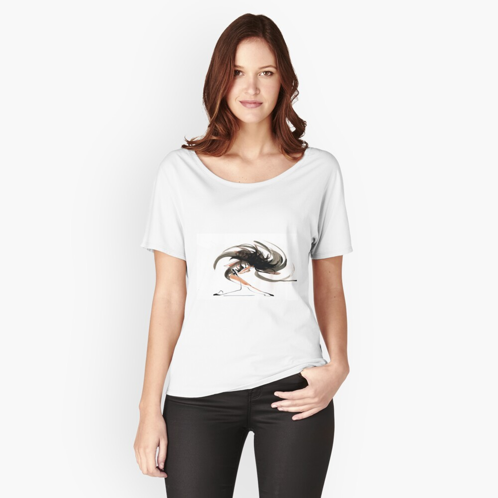 Expressive Ballerina Dance Drawing Relaxed Fit T-Shirt