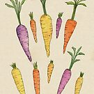 Watercolor Heirloom Carrot Pattern on Textured Cream by latheandquill