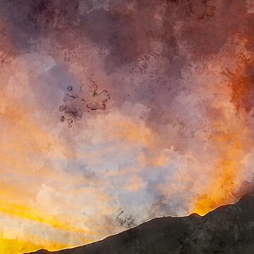 Watercolor Clouds Over a Mountain at Sunset by rhamm