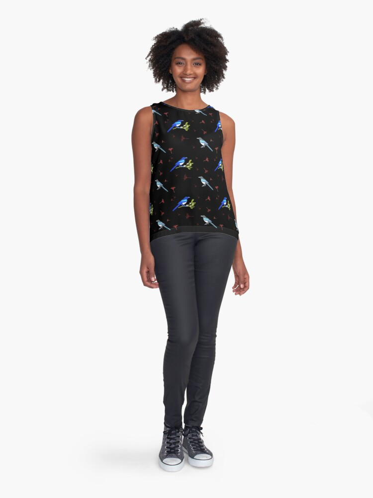 Alternate view of Magpies and Mistletoe Sleeveless Top