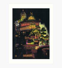 Spirited Away - Bath House at Night Art Print