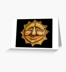 Happy Sun on Black Greeting Card