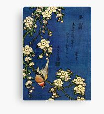 Bullfinch and Drooping Cherry by Katsushika Hokusai (Reproduction) Canvas Print