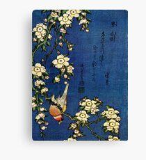 Bullfinch and Drooping Cherry by Katsushika Hokusai (Reproduction) Canvas Print