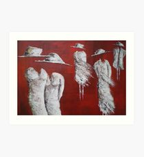 Frocked Up  (Red ladies) Art Print