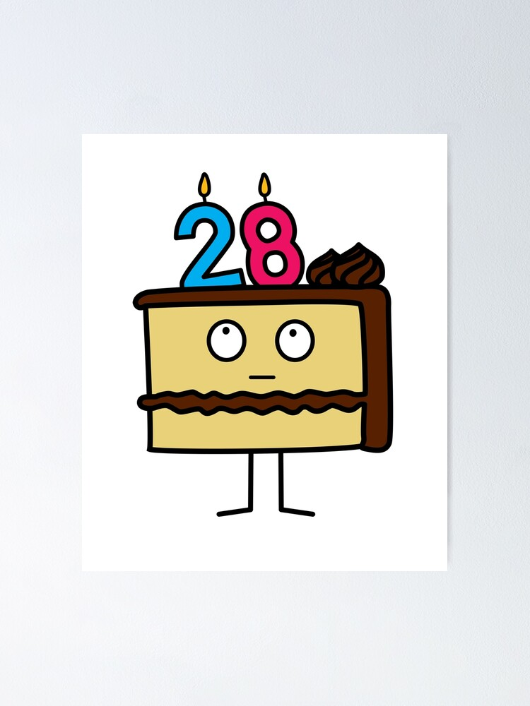 Groovy 28Th Birthday Cake With Candles Chocolate Icing Poster By Personalised Birthday Cards Paralily Jamesorg