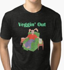 Veggin Out Snacking Bunny Tri-blend T-Shirt