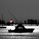 Fishing boat flying flag by Larry  Grayam