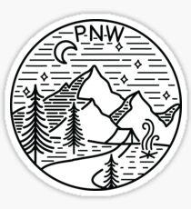 PNW Pacific Northwest Oregon Washington Geometric Mountain Trees Stars Moon Design Sticker