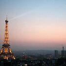 Eiffel Tower & the Moon at Dusk by swight