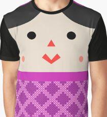 Camiseta gráfica Muñeca de Trapo (Mexican Cloth Doll) Square Friends (Pink and Blue)