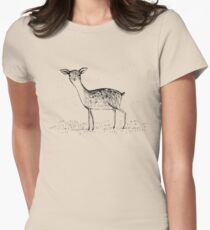 Monochrome Deer Womens Fitted T-Shirt