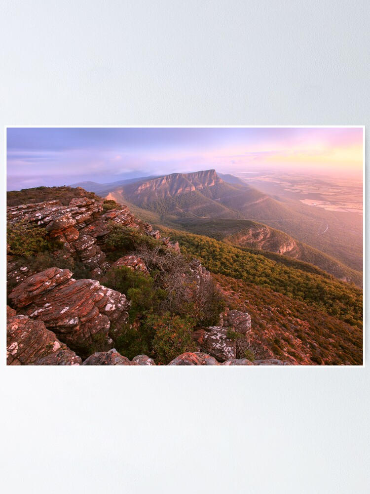 Alternate view of Redmans Bluff from Mt William, Grampians, Australia Poster