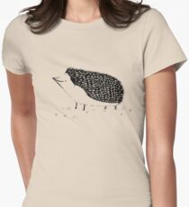 Monochrome Hedgehog Womens Fitted T-Shirt