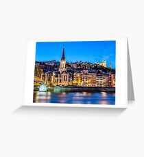 Nighttime panorama of Lyon, France, view from the Saone River Greeting Card