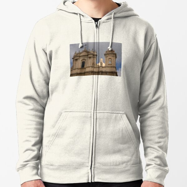 Perfectly Placed Ray of Sunshine - Noto Cathedral Saint Nicholas of Myra  Zipped Hoodie