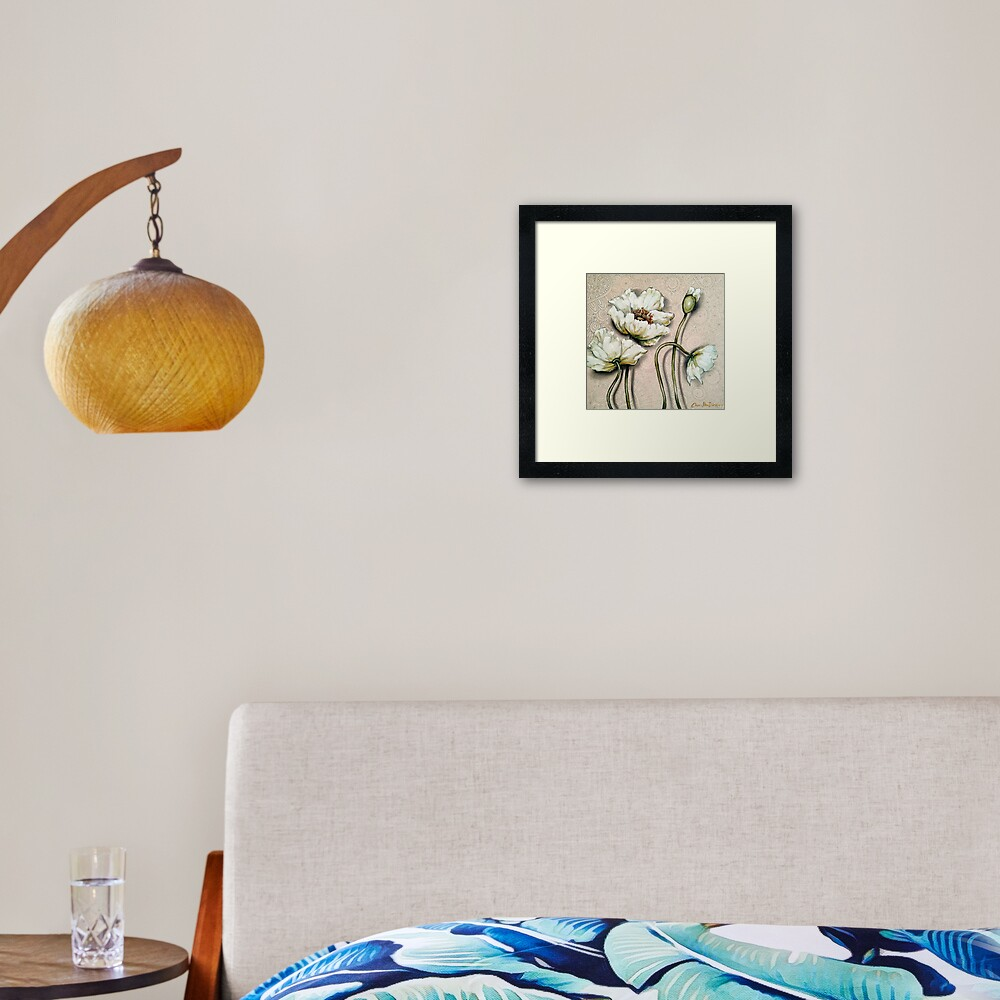 White Poppies with Pastel Patterns Framed Art Print