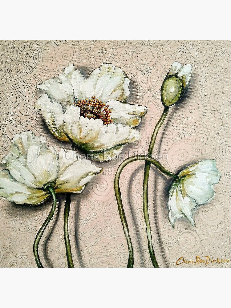 White Poppies with Pastel Patterns by cheriedirksen