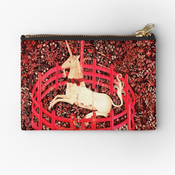 UNICORN AND GOTHIC FANTASY FLOWERS, RED FLORAL MOTIFS Zipper Pouch