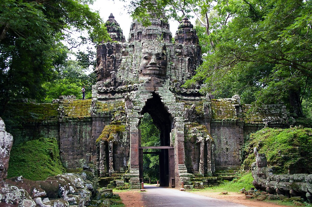 Quot Angkor Thom Gate Cambodia Quot By Derek Rogers Redbubble