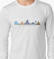 Meet me at my Happy Place Vector Orlando Theme Park Illustration Design Long Sleeve T-Shirt