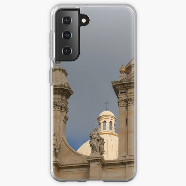 A Well Placed Ray of Sunshine - Noto Cathedral Saint Nicholas of Myra Against a Cloudy Sky Samsung Galaxy Soft Case