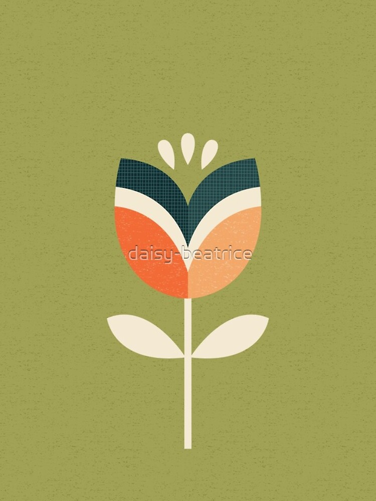 Retro Tulip - Orange and Olive Green by daisy-beatrice