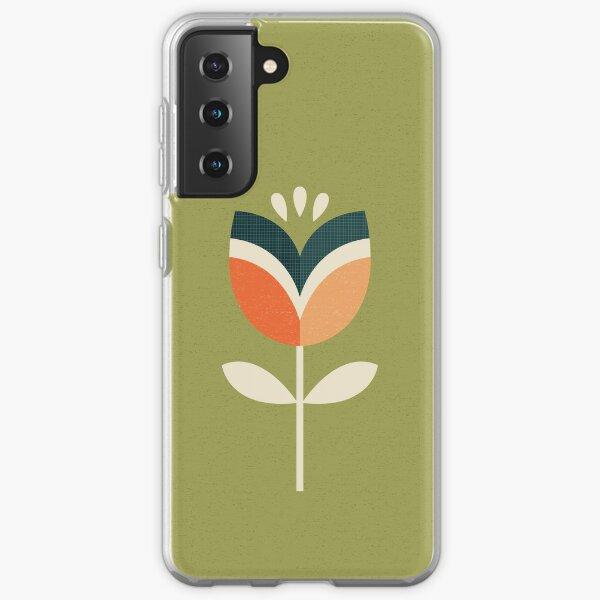 Retro Tulip - Orange and Olive Green Samsung Galaxy Soft Case