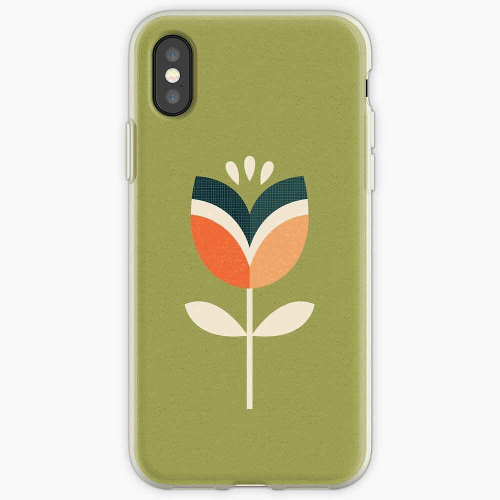 Retro Tulpe - Orange und Olivgrün iPhone-Hülle & Cover