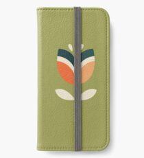 Retro Tulpe - Orange und Olivgrün iPhone Flip-Case/Hülle/Klebefolie